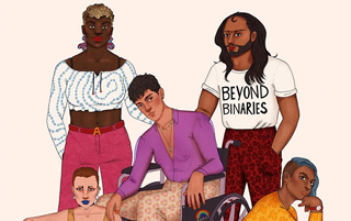 "illustration of a group of nonbinary people with one person wearing a shirt that says ""beyond binaries"""