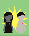 illustration, 2 people from motion graphic video